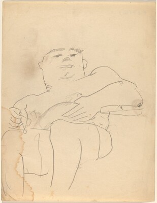 Seated Man Looking Down, Eyeglasses in Hand