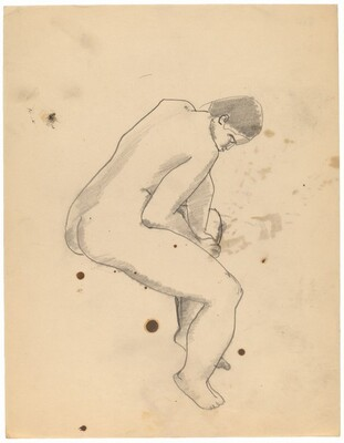 Seated Female Nude Turned to the Right, Leaning Forward
