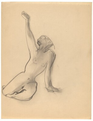 Female Nude Seated on the Ground, Left Arm Supporting Torso, Right Arm Raised