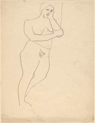 Standing Nude Leaning to the Right, Head Resting on Hand
