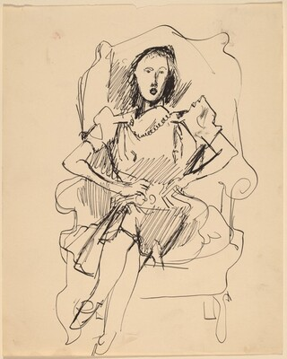 Woman Seated in Wing Chair, Legs Crossed