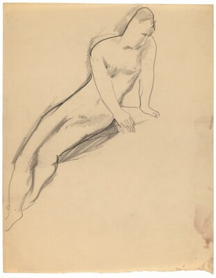 Seated Nude Leaning to the Right, Legs Crossed at Ankles