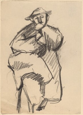 Seated Man Wearing Hat and Large Coat