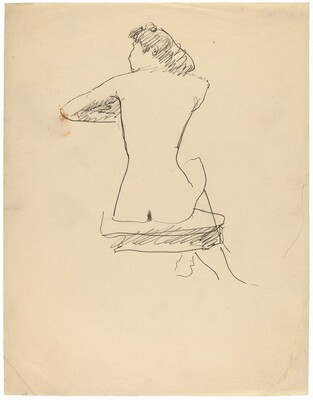 Seated Female Nude Seen from the Back, Left Elbow Extended