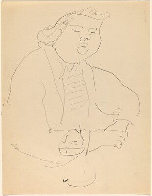 Half-Length Study of a Figure Wearing a Ruffled Collar and Sketch of a Boy's Head
