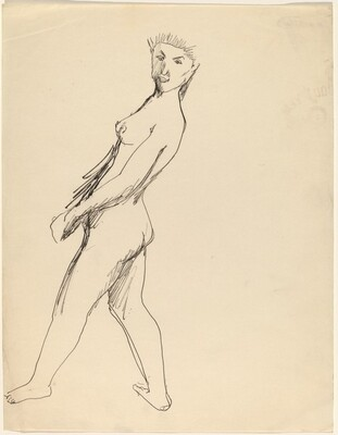 Female Nude Seen from Her Left Side, Leaning Back, Head Turned to the Viewer