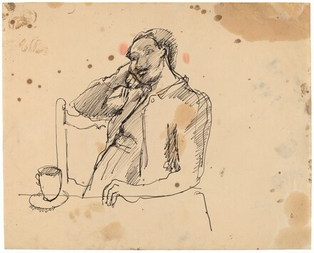 Pensive Woman Seated at a Table, Cup and Saucer to the Left