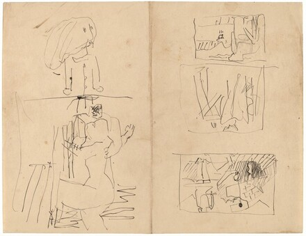 Sheet with Figure Sketches: Youngster; Woman Reaching toward Man; Additional Studies