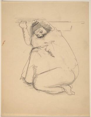 Woman Wearing Loose Robe, Crouching