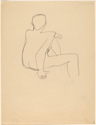 Nude Figure Seen from the Back, Right Arm Supporting Torso