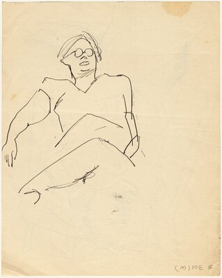 Seated Figure with Eyeglasses, Leaning Back [verso]