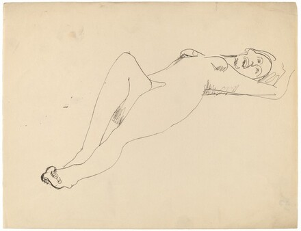 Female Nude Lying on Back, Leaning to the Right