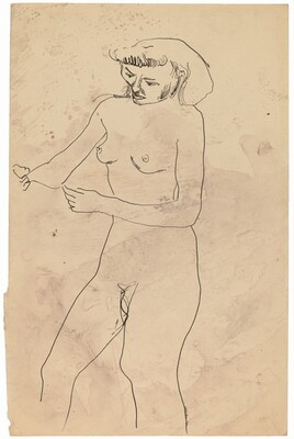 Standing Nude, Three-quarter View Facing Left