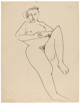 Seated Female Nude Leaning Back, Left Leg Raised at Knee