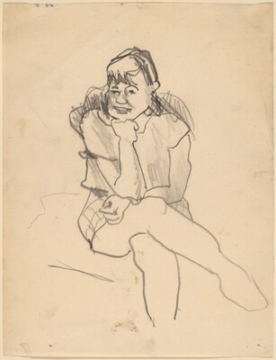 Young Girl Seated Facing Front, Head Propped on Arm