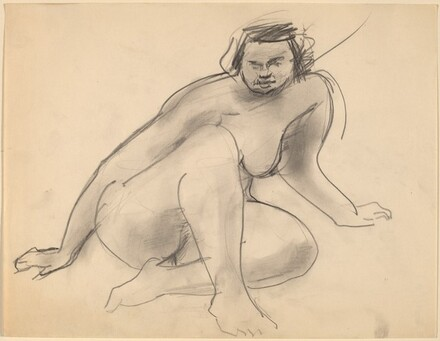 Nude Seated on the Ground, Leaning to the Right, Legs Bent