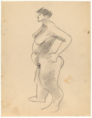 Large Standing Female Nude Turned to the Left, Hand on Hip