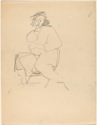 Seated Woman in Robe, Arms Crossed