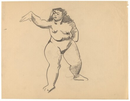 Standing Female Nude Gesturing to the Left