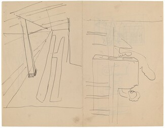 Two Figures behind a Railing, Room Interior with Beam [recto]