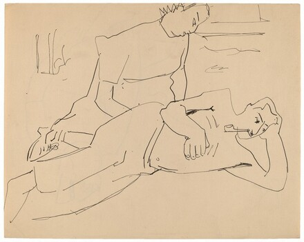 Reclining Male and Seated Female [recto]