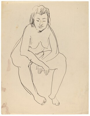 Seated Nude Woman Leaning Forward, Elbows on Knees