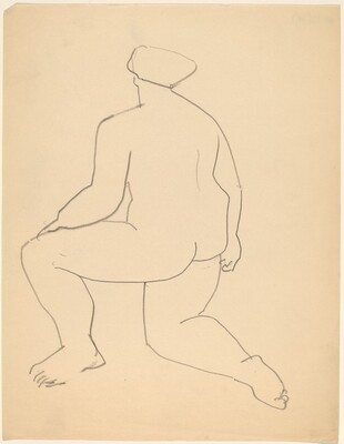 Nude Resting on One Knee, Seen from the Back