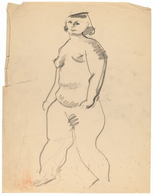 Standing Nude Turned to the Left, Arms at Side