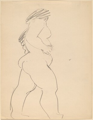 Standing Nude, Side View Facing Right, Head Turned Away