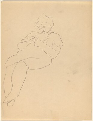 Seated Woman Leaning Back and to the Right, Looking Down at Her Hands