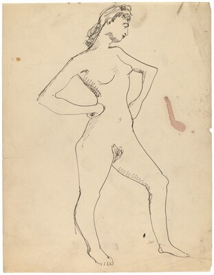 Standing Nude Turned to the Right, Hands on Hips