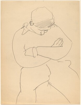 Seated Figure Looking Down, Arms Folded