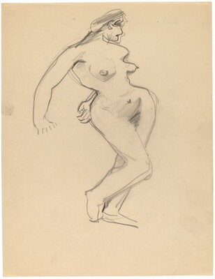 Standing Nude, Three-quarter View Facing Right, Arms Back