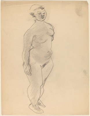Standing Nude, Three-quarter View Facing Right, Eyes Closed