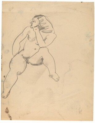 Seated Nude Facing Front, Head Turned to the Left