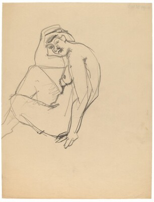 Side View of Seated Nude Turned to the Left, Head Turned to Viewer