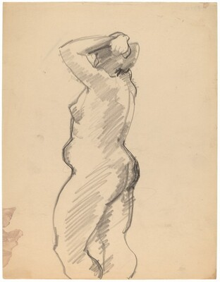 Side View of Standing Nude Turned to the Left, Arms Raised to Head