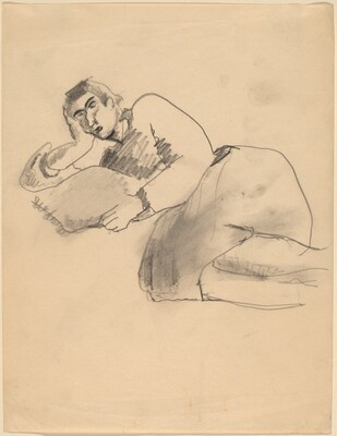 Woman Reclining to the Left, Pillow at Hand