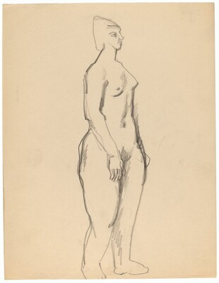 Standing Nude Three-quarter View to the Right, Arms at Side