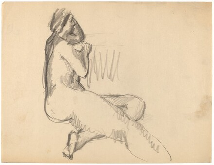 Side View of Seated Nude, Right Leg Extended, Left Leg Tucked Under
