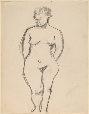 Frontal View of Standing Nude, Arms Behind