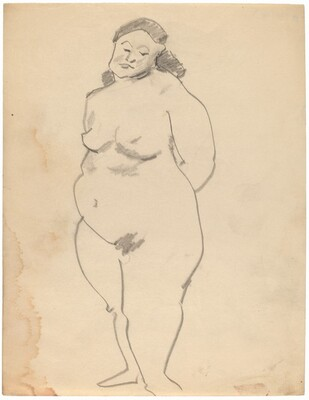 Large Standing Nude, Face Turned to Viewer, Arms Behind