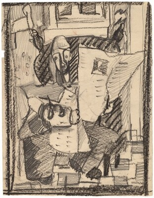 Stylized Study of a Figure Reading a Newspaper