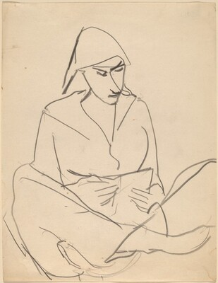 Woman Seated with Legs Crossed, Reading