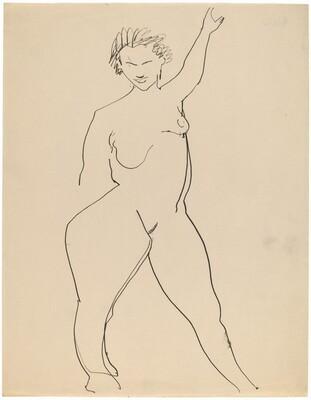 Frontal Nude, Left Arm Raised above Head