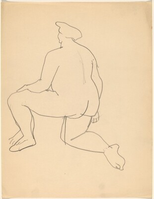 Nude Turned to the Left, Kneeling on One leg, Seen from the Back