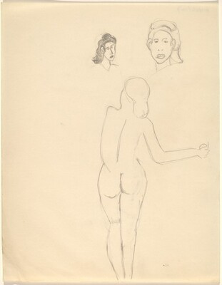 A Nude Seen from the Back and Two Studies of Female Heads