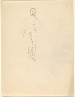 Frontal Nude, Right Leg Slightly Raised, Hands Behind