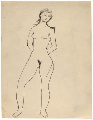 Frontal Nude, Right Leg Bent at Knee, Hands Behind