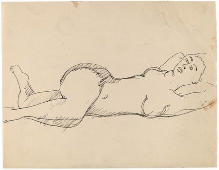 Nude Reclining to the Right, Arms beneath Head, Vertically Posed